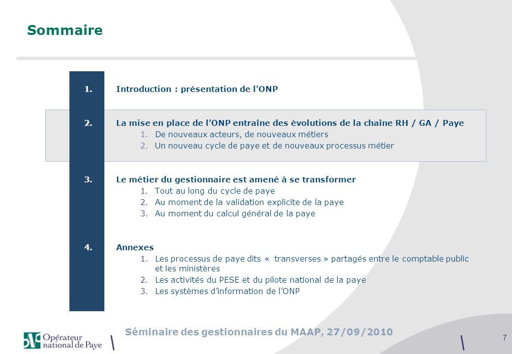 Séminaire des gestionnaires du MAAP, 27/09/2010 7 Sommaire 1.Introduction : présentation de l'ONP 2.La mise en place de lONP entraîne des évolutions d