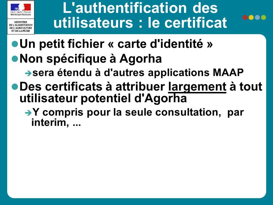 L authentification des utilisateurs : le certificat Un petit fichier « carte d identité » Non spécifique à Agorha sera étendu à d autres applications MAAP Des certificats à attribuer largement à tout utilisateur potentiel d Agorha Y compris pour la seule consultation, par interim,...