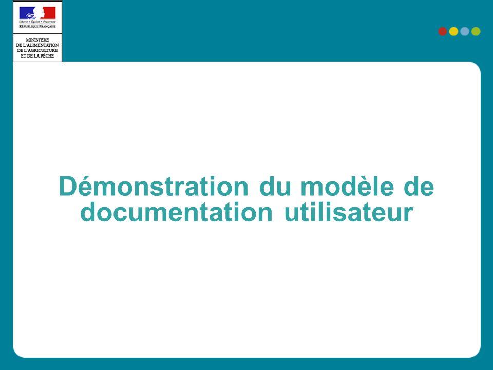 Démonstration du modèle de documentation utilisateur