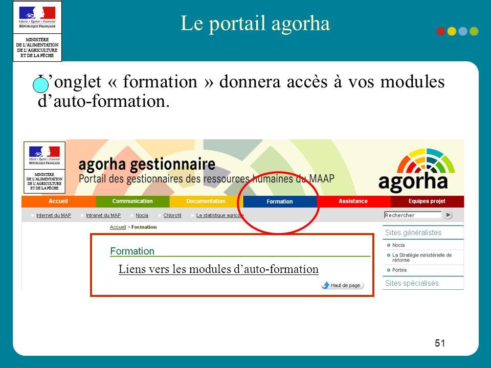 51 Longlet « formation » donnera accès à vos modules dauto-formation.