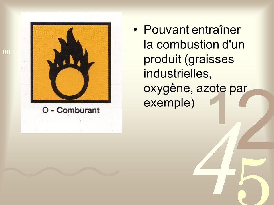 Pouvant entraîner la combustion d un produit (graisses industrielles, oxygène, azote par exemple)