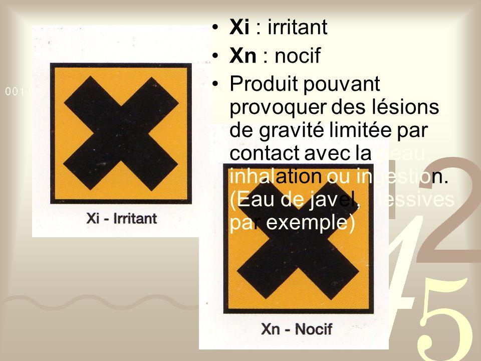 Xi : irritant Xn : nocif Produit pouvant provoquer des lésions de gravité limitée par contact avec la peau, inhalation ou ingestion.