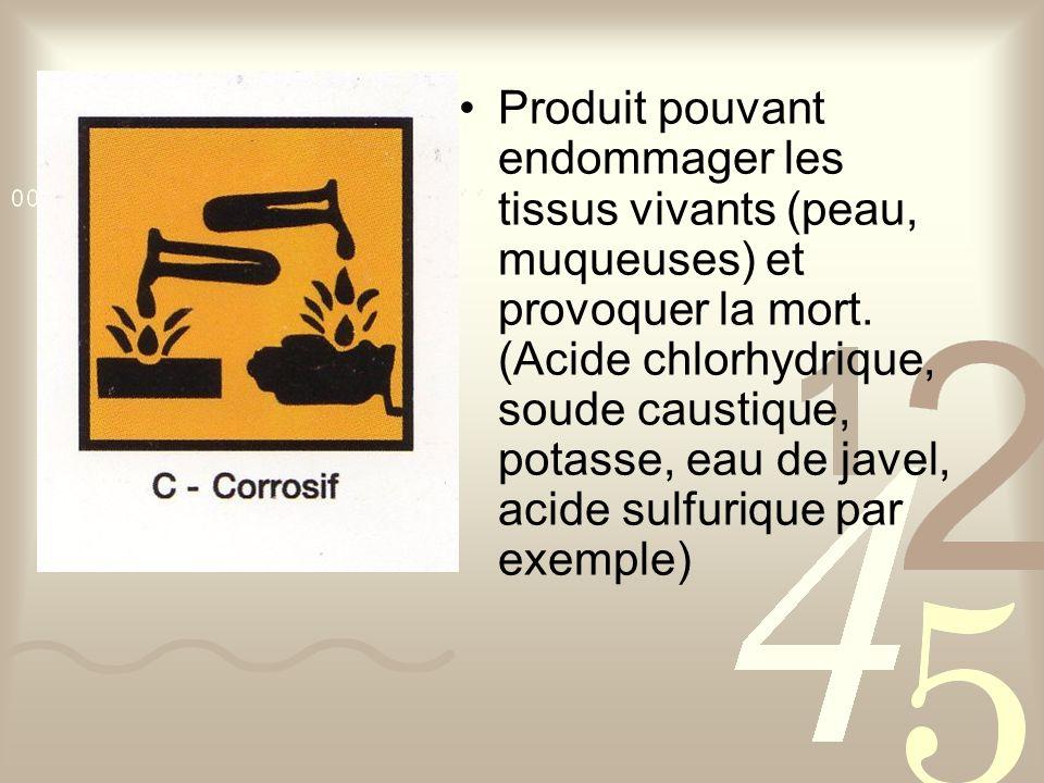 Produit pouvant endommager les tissus vivants (peau, muqueuses) et provoquer la mort.