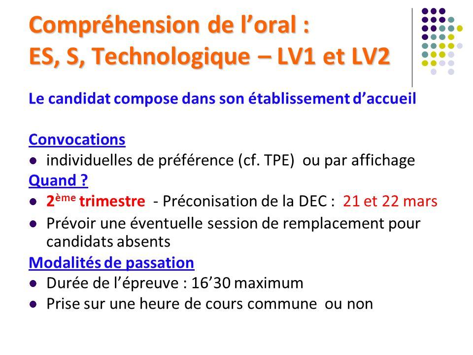 Compréhension de loral : ES, S, Technologique – LV1 et LV2 Le candidat compose dans son établissement daccueil Convocations individuelles de préférenc