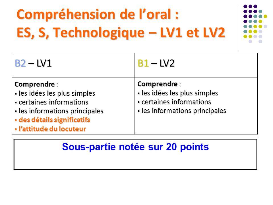 Compréhension de loral : ES, S, Technologique – LV1 et LV2 B2 – LV1 B1 – LV2 Comprendre : les idées les plus simples les idées les plus simples certai