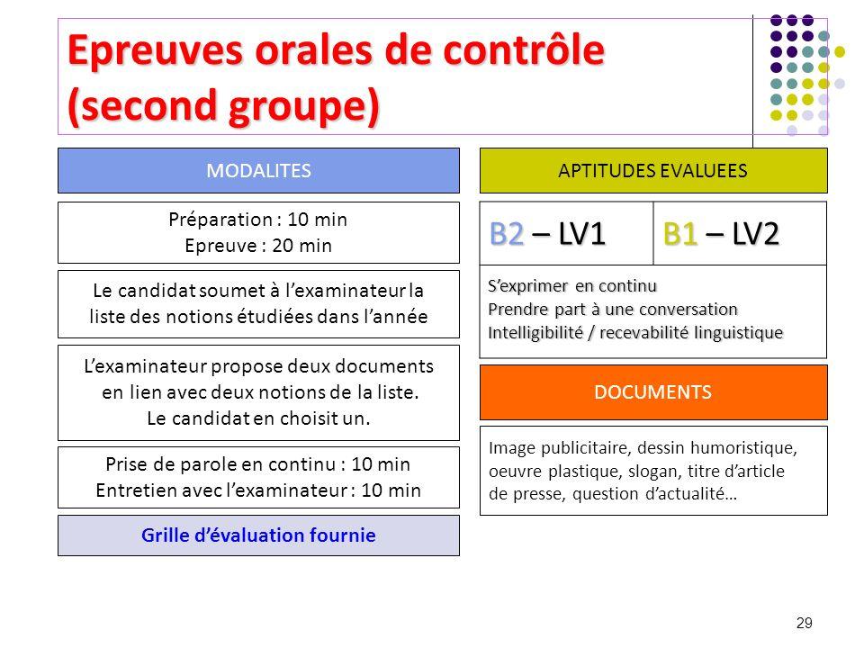 29 Epreuves orales de contrôle (second groupe) Préparation : 10 min Epreuve : 20 min Le candidat soumet à lexaminateur la liste des notions étudiées d