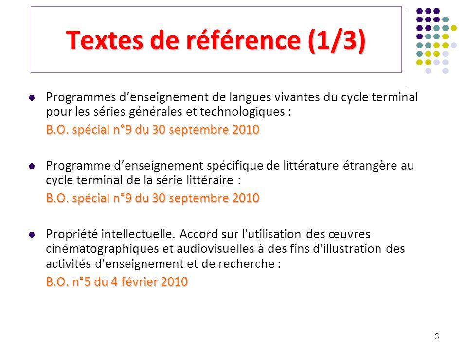 3 Textes de référence (1/3) Programmes denseignement de langues vivantes du cycle terminal pour les séries générales et technologiques : B.O. spécial