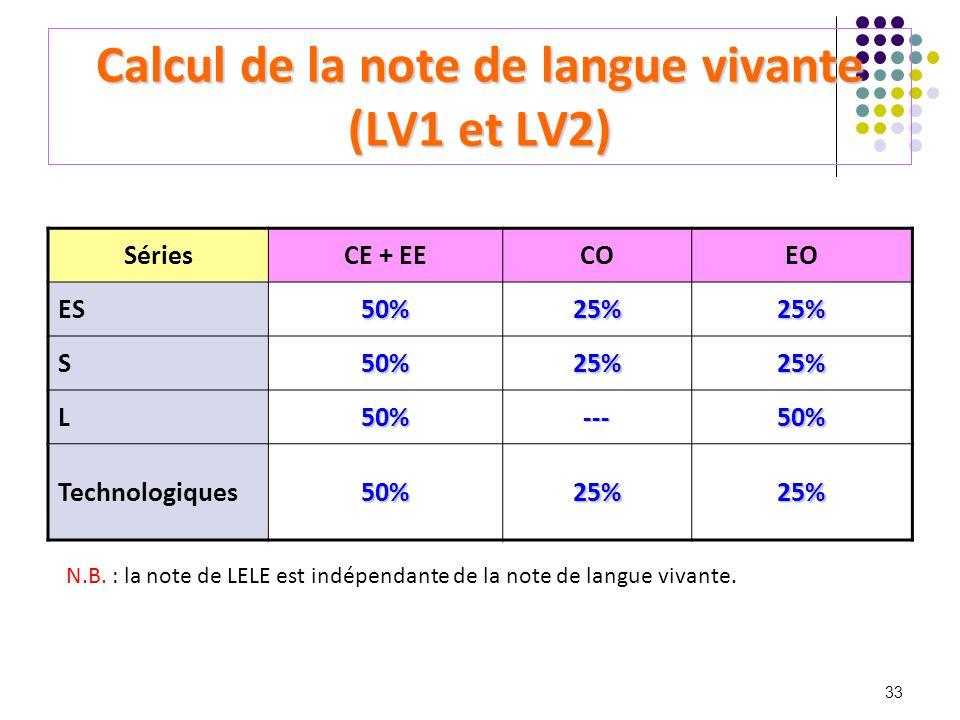 33 Calcul de la note de langue vivante (LV1 et LV2) SériesCE + EECOEO ES50%25%25% S50%25%25% L50%---50% Technologiques50%25%25% N.B. : la note de LELE