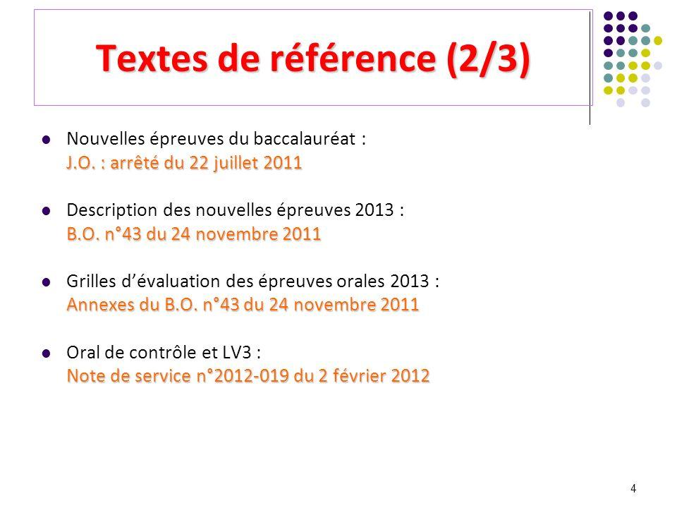 4 Textes de référence (2/3) Nouvelles épreuves du baccalauréat : J.O. : arrêté du 22 juillet 2011 Description des nouvelles épreuves 2013 : B.O. n°43