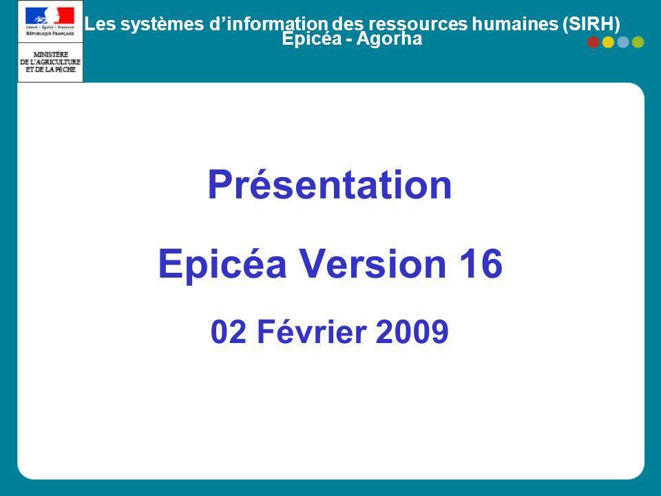 Les systèmes dinformation des ressources humaines (SIRH) Epicéa - Agorha Présentation Epicéa Version 16 02 Février 2009