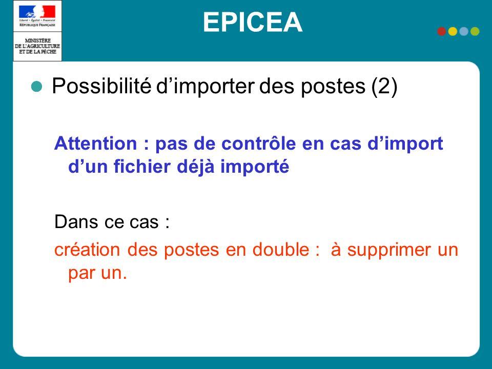 EPICEA Possibilité dimporter des postes (2) Attention : pas de contrôle en cas dimport dun fichier déjà importé Dans ce cas : création des postes en d