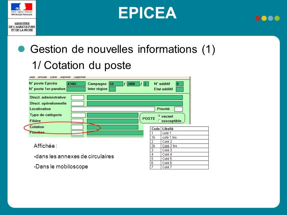 EPICEA Gestion de nouvelles informations (1) 1/ Cotation du poste Affichée : -dans les annexes de circulaires -Dans le mobiloscope