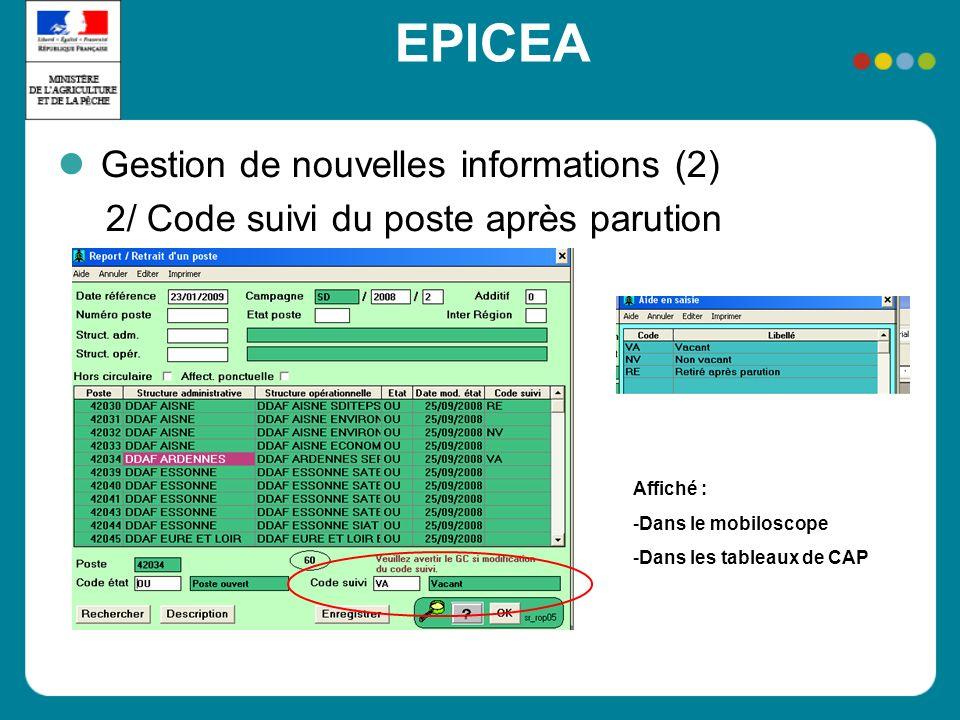 EPICEA Gestion de nouvelles informations (2) 2/ Code suivi du poste après parution Affiché : -Dans le mobiloscope -Dans les tableaux de CAP