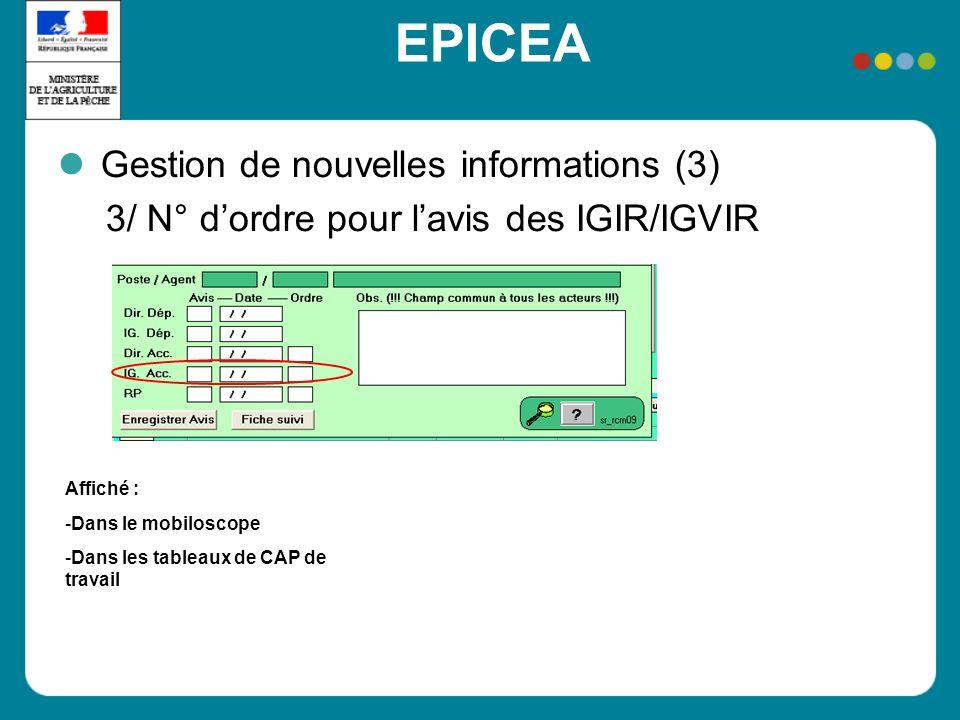 EPICEA Gestion de nouvelles informations (3) 3/ N° dordre pour lavis des IGIR/IGVIR Affiché : -Dans le mobiloscope -Dans les tableaux de CAP de travai