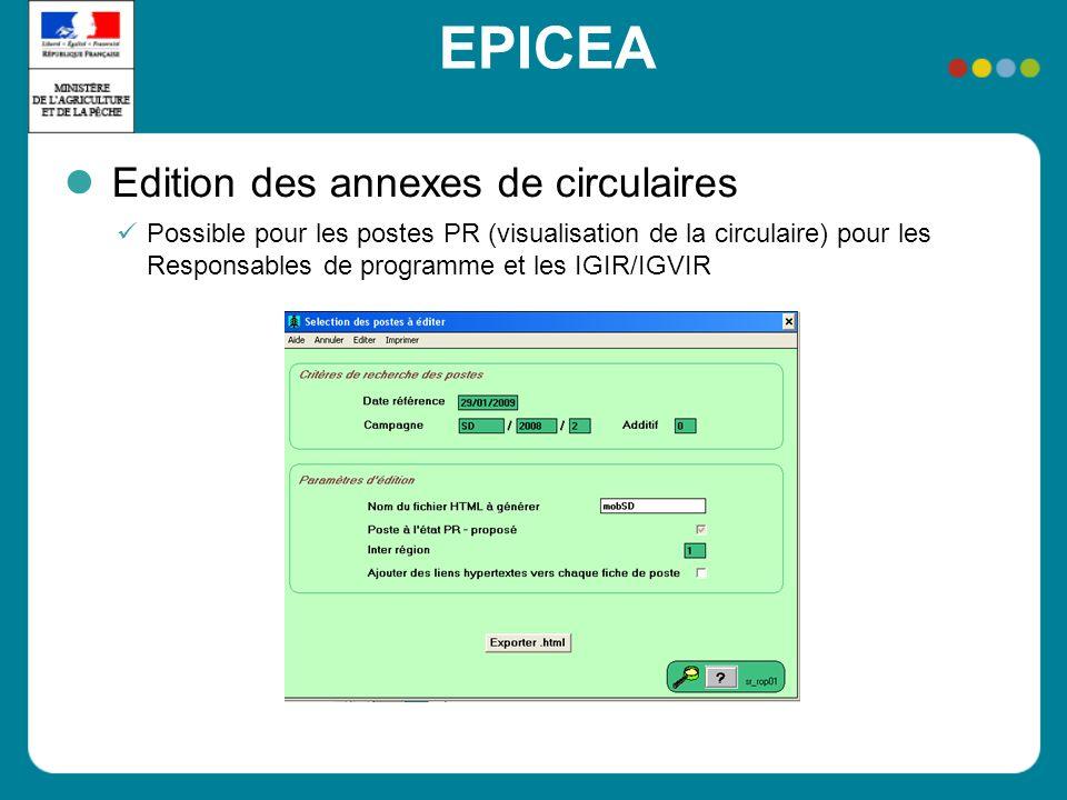 EPICEA Edition des annexes de circulaires Possible pour les postes PR (visualisation de la circulaire) pour les Responsables de programme et les IGIR/