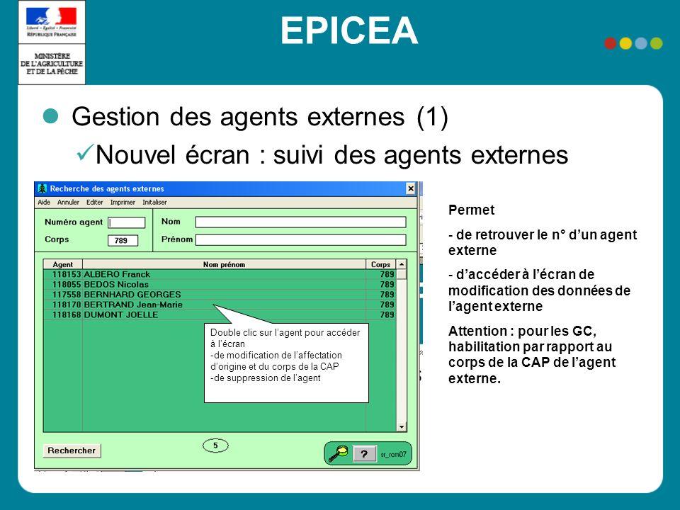 EPICEA Gestion des agents externes (1) Nouvel écran : suivi des agents externes Permet - de retrouver le n° dun agent externe - daccéder à lécran de m