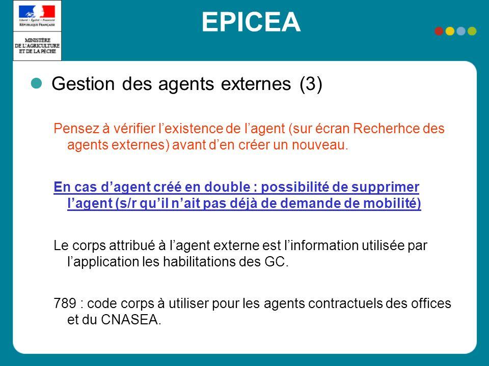 EPICEA Gestion des agents externes (3) Pensez à vérifier lexistence de lagent (sur écran Recherhce des agents externes) avant den créer un nouveau. En
