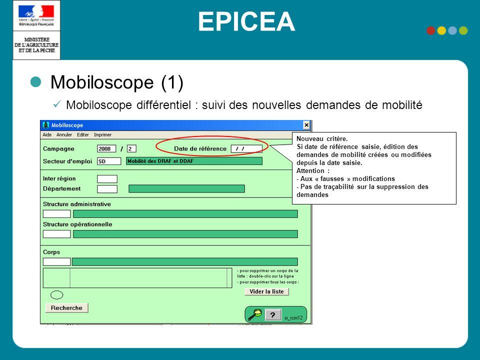 EPICEA Mobiloscope (1) Mobiloscope différentiel : suivi des nouvelles demandes de mobilité Nouveau critère. Si date de référence saisie, édition des d