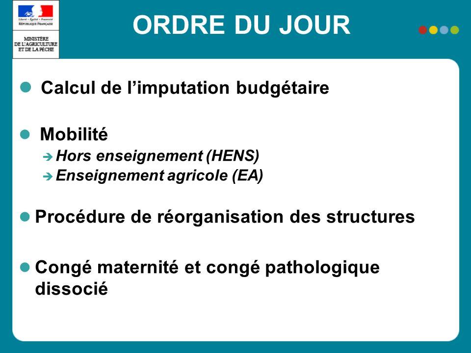 ORDRE DU JOUR Calcul de limputation budgétaire Mobilité Hors enseignement (HENS) Enseignement agricole (EA) Procédure de réorganisation des structures