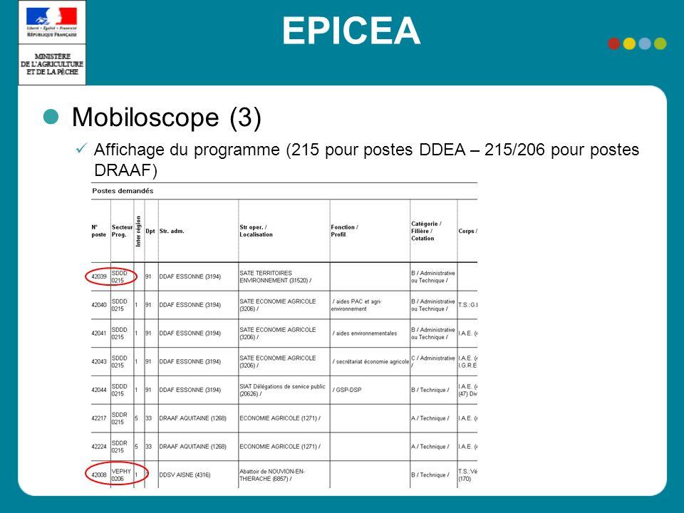 EPICEA Mobiloscope (3) Affichage du programme (215 pour postes DDEA – 215/206 pour postes DRAAF)