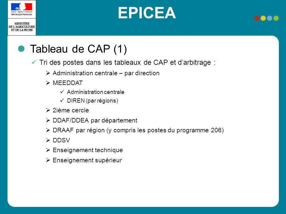 EPICEA Tableau de CAP (1) Tri des postes dans les tableaux de CAP et darbitrage : Administration centrale – par direction MEEDDAT Administration centr