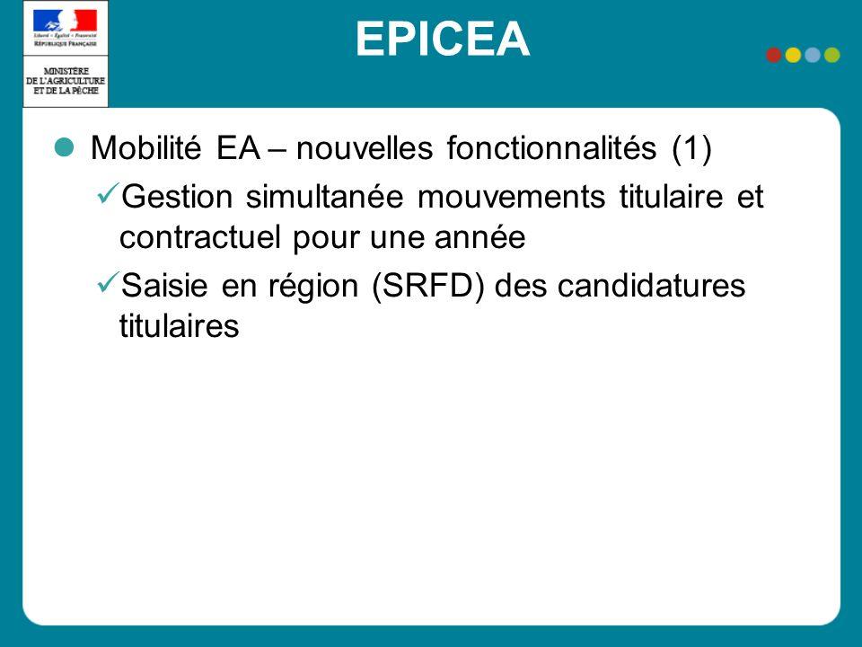 EPICEA Mobilité EA – nouvelles fonctionnalités (1) Gestion simultanée mouvements titulaire et contractuel pour une année Saisie en région (SRFD) des c