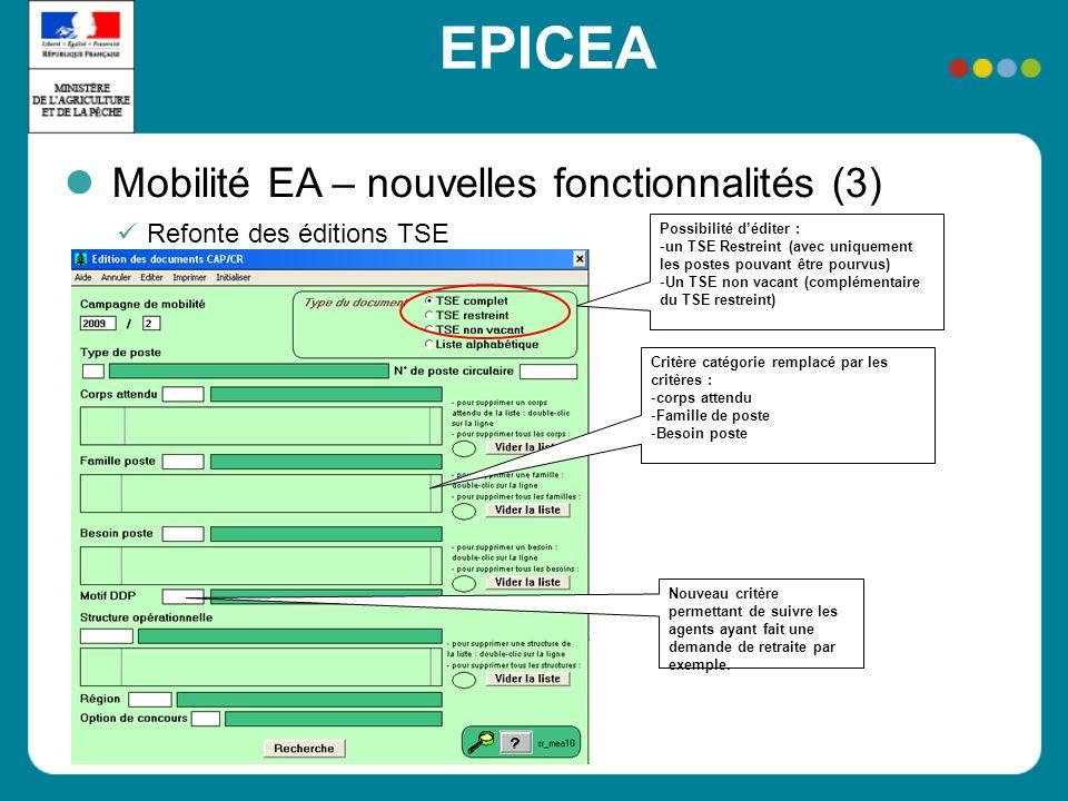 EPICEA Mobilité EA – nouvelles fonctionnalités (3) Refonte des éditions TSE Possibilité déditer : -un TSE Restreint (avec uniquement les postes pouvan