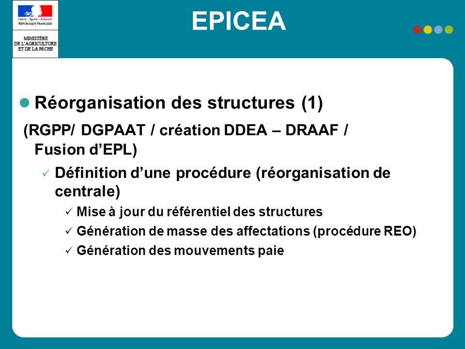 EPICEA Réorganisation des structures (1) (RGPP/ DGPAAT / création DDEA – DRAAF / Fusion dEPL) Définition dune procédure (réorganisation de centrale) M