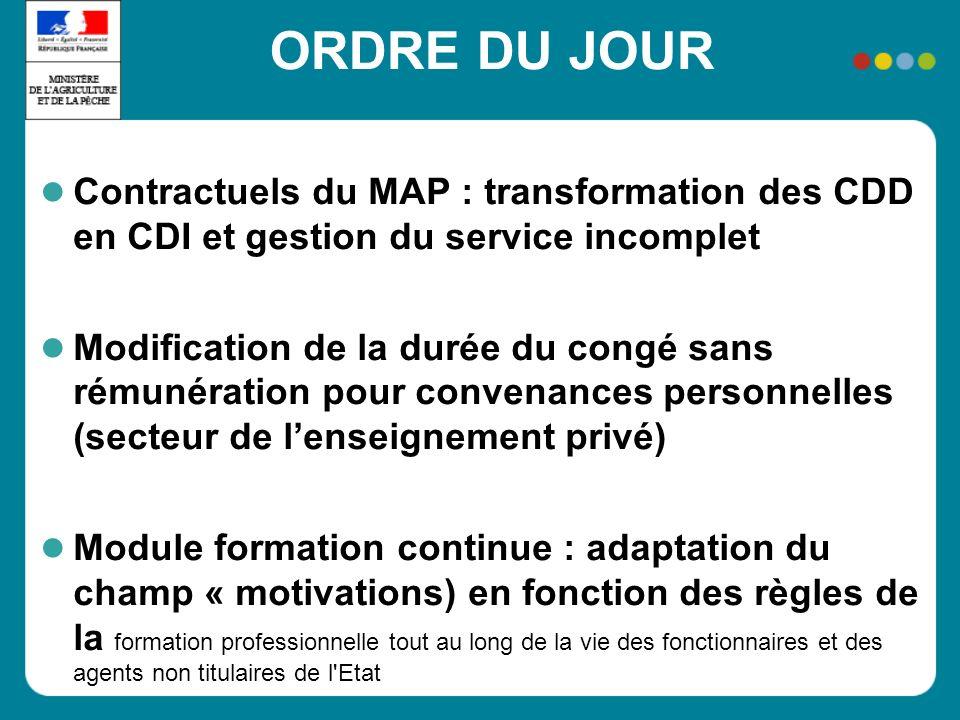 ORDRE DU JOUR Contractuels du MAP : transformation des CDD en CDI et gestion du service incomplet Modification de la durée du congé sans rémunération