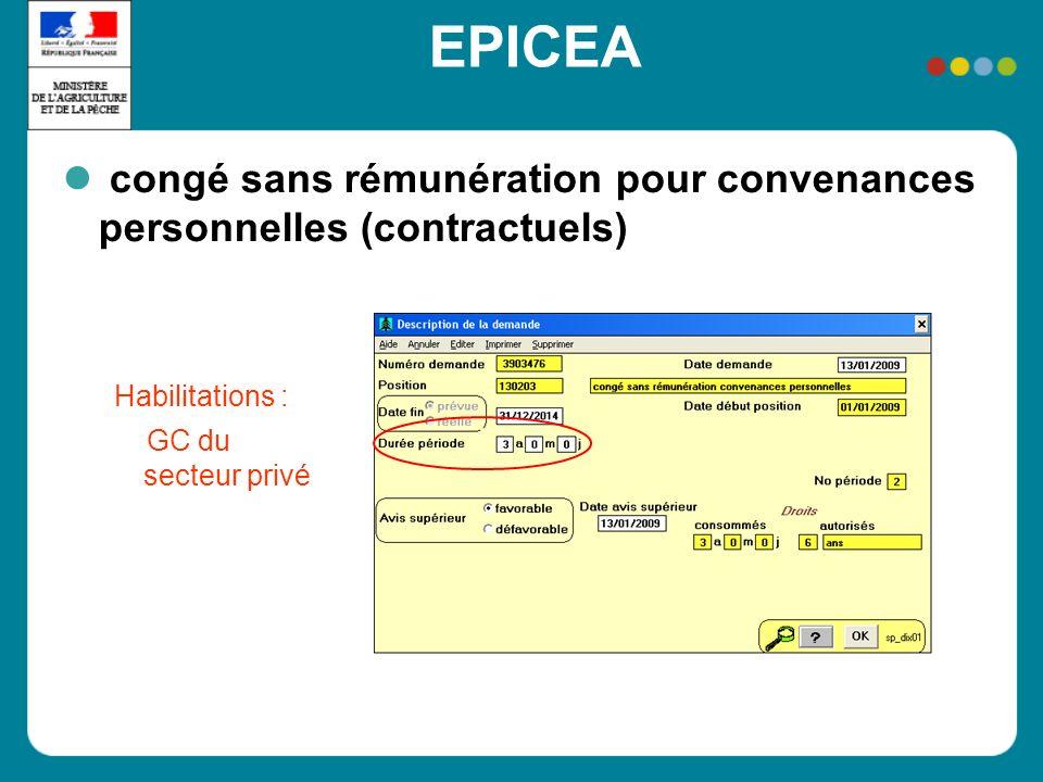 EPICEA congé sans rémunération pour convenances personnelles (contractuels) Habilitations : GC du secteur privé
