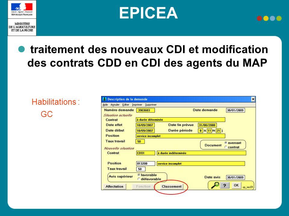 EPICEA traitement des nouveaux CDI et modification des contrats CDD en CDI des agents du MAP Habilitations : GC
