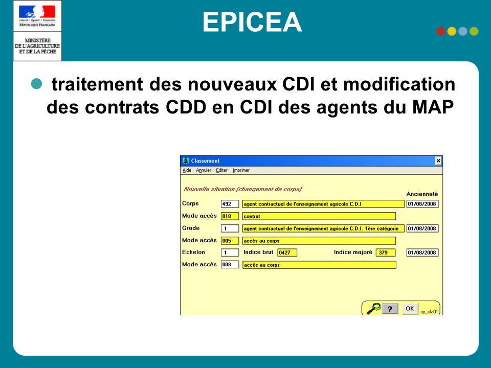 EPICEA traitement des nouveaux CDI et modification des contrats CDD en CDI des agents du MAP