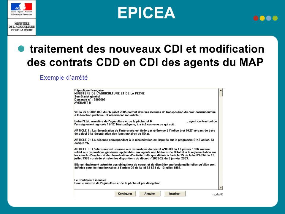 EPICEA Exemple darrêté traitement des nouveaux CDI et modification des contrats CDD en CDI des agents du MAP