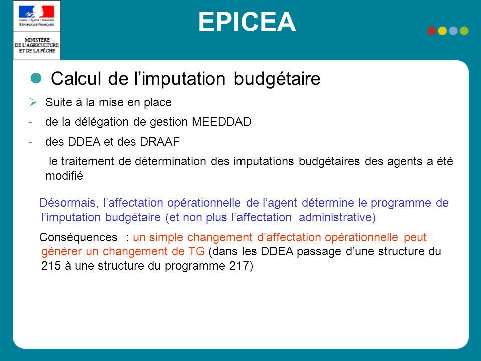 EPICEA Calcul de limputation budgétaire Suite à la mise en place - de la délégation de gestion MEEDDAD - des DDEA et des DRAAF le traitement de déterm