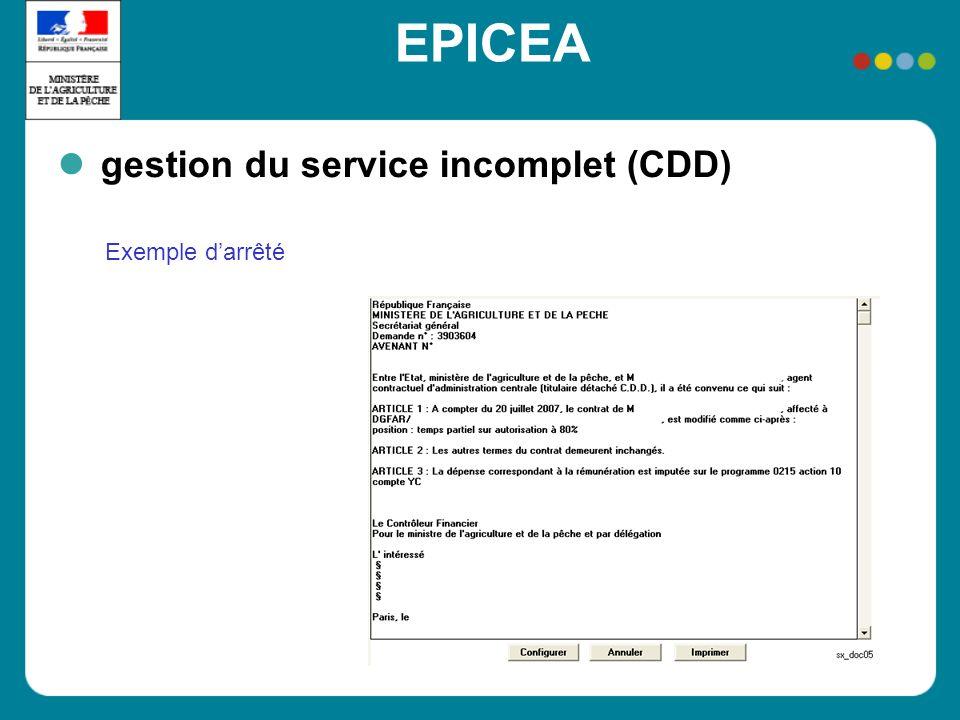 EPICEA gestion du service incomplet (CDD) Exemple darrêté