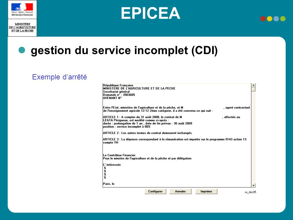 EPICEA gestion du service incomplet (CDI) Exemple darrêté