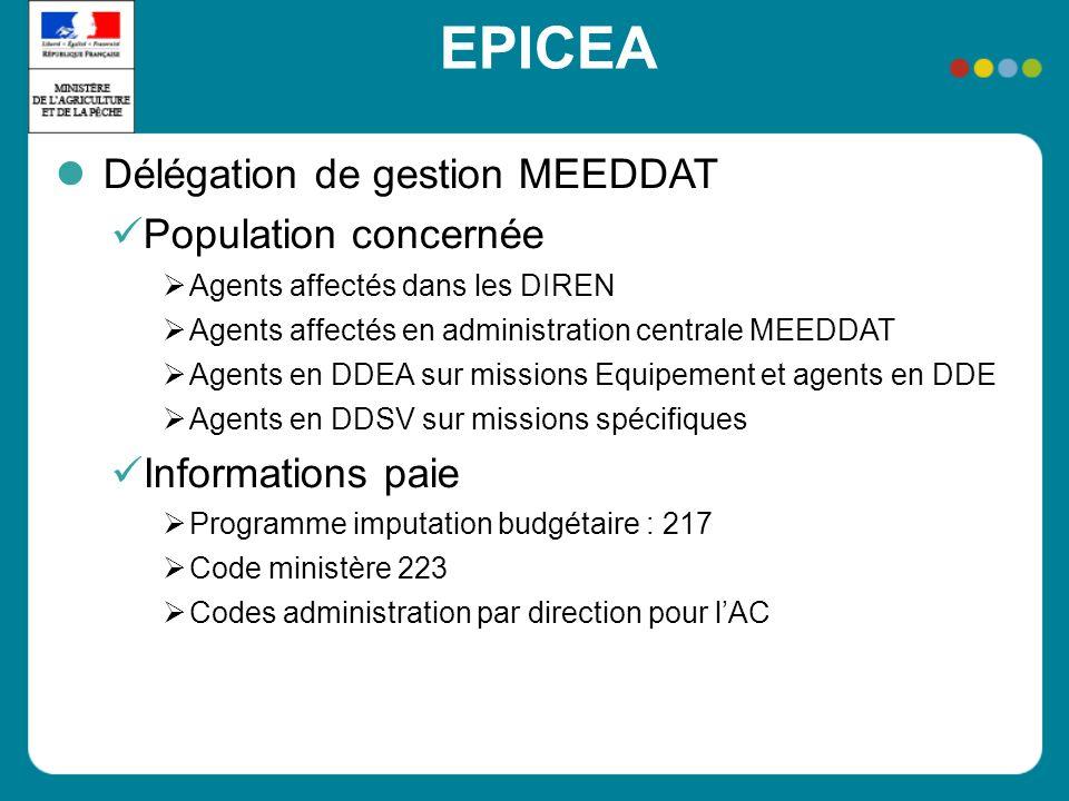 EPICEA Délégation de gestion MEEDDAT Population concernée Agents affectés dans les DIREN Agents affectés en administration centrale MEEDDAT Agents en