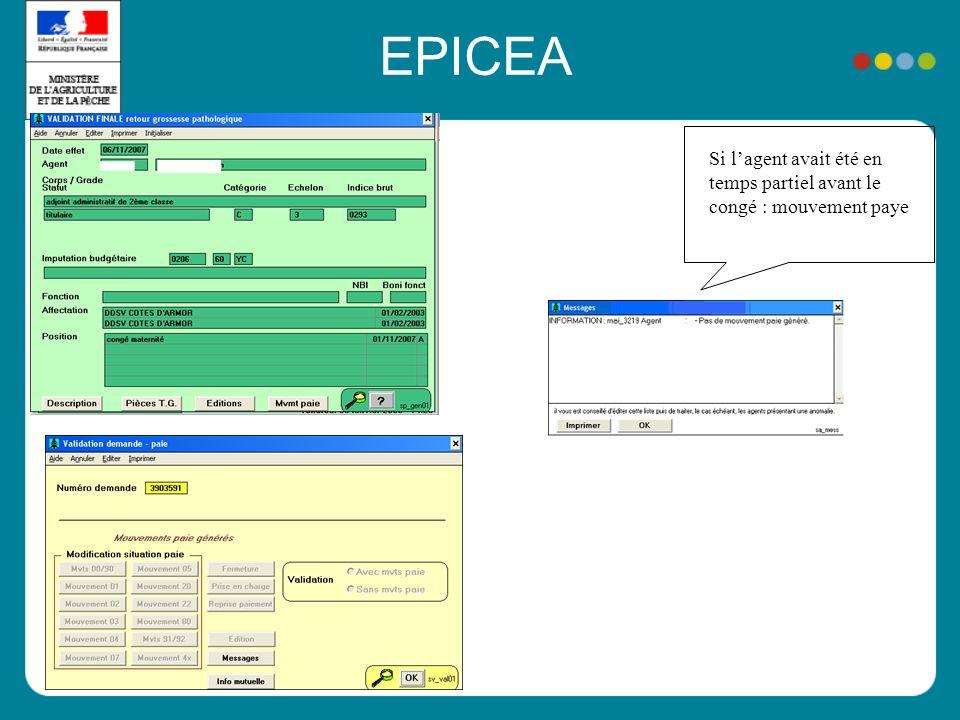 EPICEA Si lagent avait été en temps partiel avant le congé : mouvement paye
