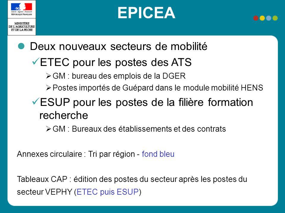 EPICEA Deux nouveaux secteurs de mobilité ETEC pour les postes des ATS GM : bureau des emplois de la DGER Postes importés de Guépard dans le module mo