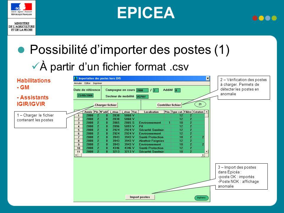 EPICEA Possibilité dimporter des postes (1) À partir dun fichier format.csv 1 – Charger le fichier contenant les postes 2 – Vérification des postes à