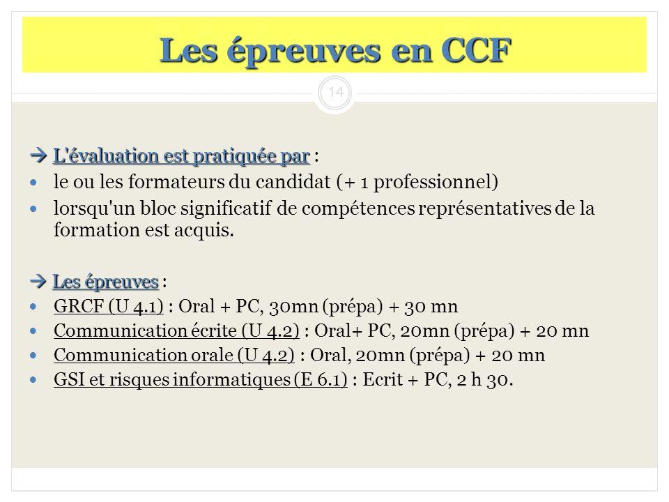 14 Les épreuves en CCF L'évaluation est pratiquée par L'évaluation est pratiquée par : le ou les formateurs du candidat (+ 1 professionnel) lorsqu'un