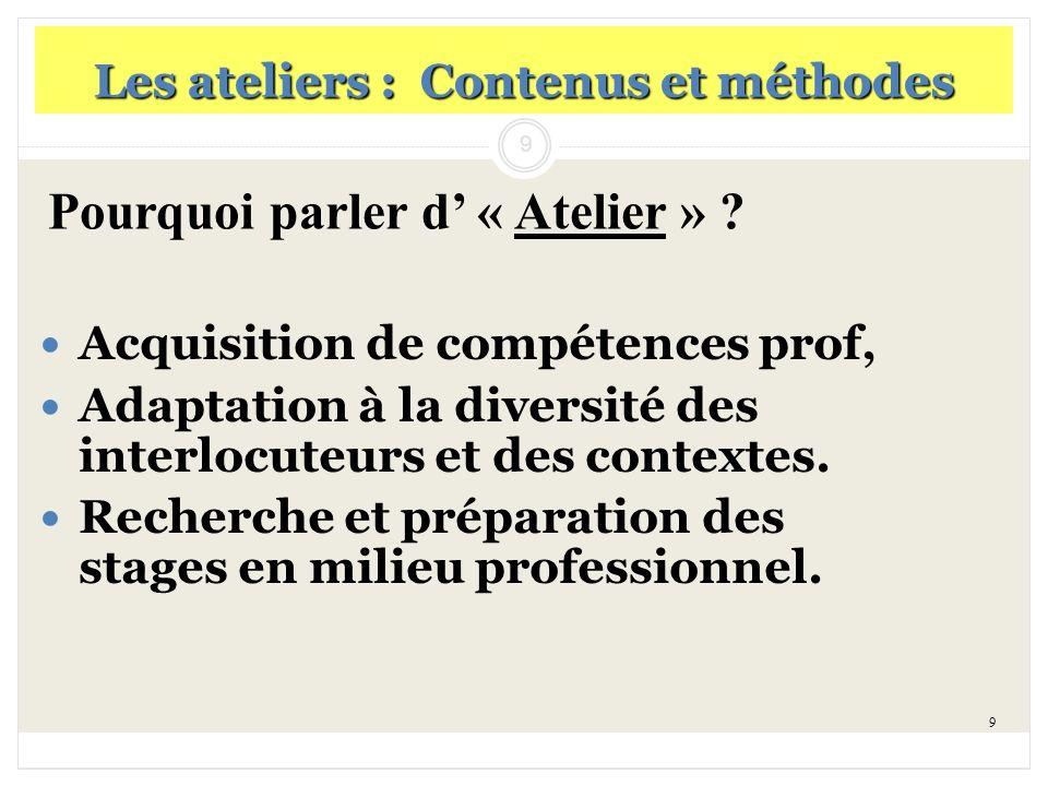 9 Les ateliers : Contenus et méthodes Acquisition de compétences prof, Adaptation à la diversité des interlocuteurs et des contextes. Recherche et pré