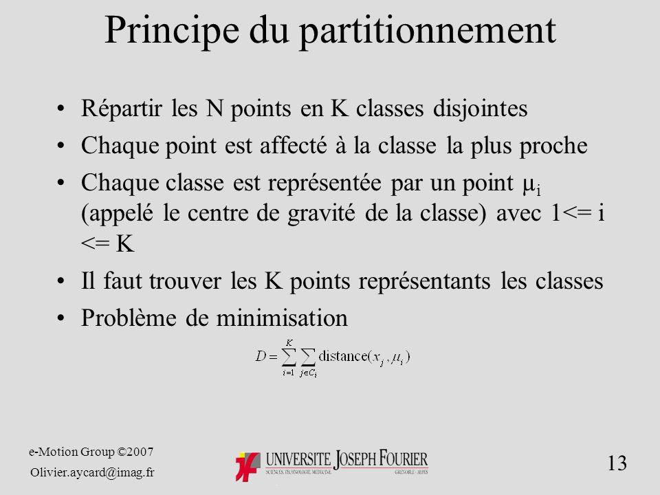 e-Motion Group ©2007 Olivier.aycard@imag.fr 13 Principe du partitionnement Répartir les N points en K classes disjointes Chaque point est affecté à la classe la plus proche Chaque classe est représentée par un point µ i (appelé le centre de gravité de la classe) avec 1<= i <= K Il faut trouver les K points représentants les classes Problème de minimisation