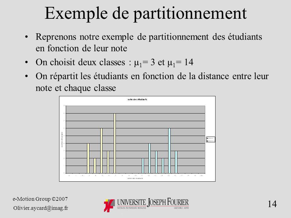 e-Motion Group ©2007 Olivier.aycard@imag.fr 14 Exemple de partitionnement Reprenons notre exemple de partitionnement des étudiants en fonction de leur note On choisit deux classes : µ 1 = 3 et µ 1 = 14 On répartit les étudiants en fonction de la distance entre leur note et chaque classe