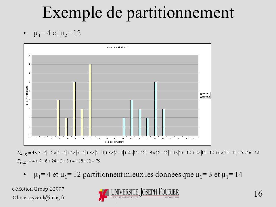 e-Motion Group ©2007 Olivier.aycard@imag.fr 16 Exemple de partitionnement µ 1 = 4 et µ 2 = 12 µ 1 = 4 et µ 1 = 12 partitionnent mieux les données que µ 1 = 3 et µ 1 = 14