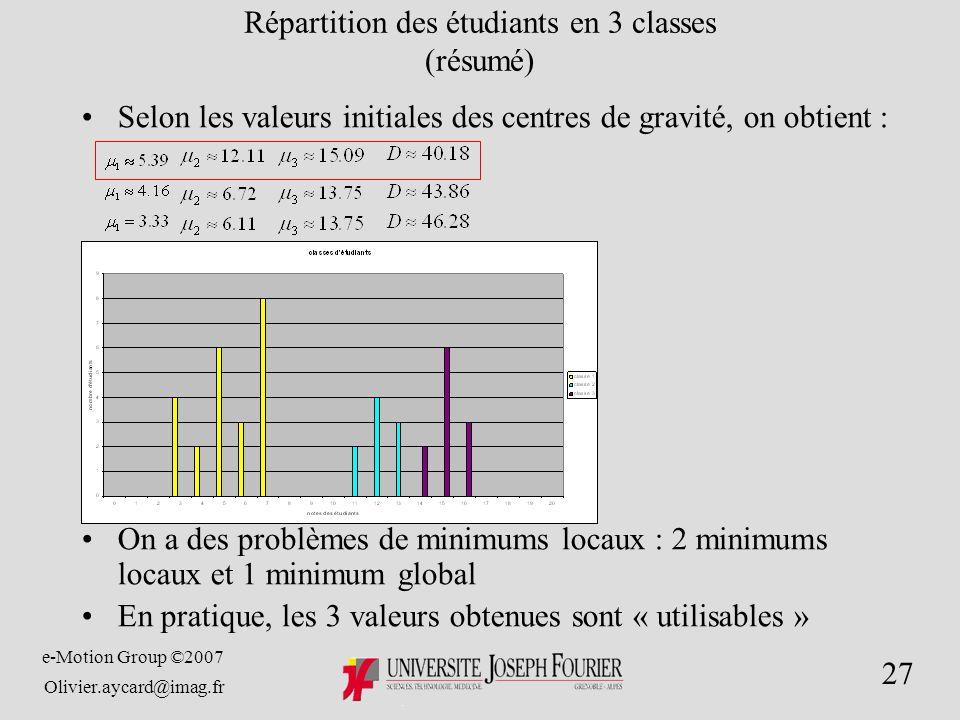 e-Motion Group ©2007 Olivier.aycard@imag.fr 27 Répartition des étudiants en 3 classes (résumé) Selon les valeurs initiales des centres de gravité, on obtient : On a des problèmes de minimums locaux : 2 minimums locaux et 1 minimum global En pratique, les 3 valeurs obtenues sont « utilisables »