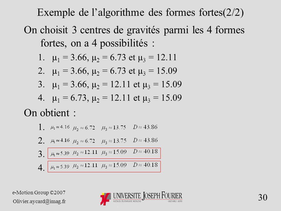 e-Motion Group ©2007 Olivier.aycard@imag.fr 30 Exemple de lalgorithme des formes fortes(2/2) On choisit 3 centres de gravités parmi les 4 formes fortes, on a 4 possibilités : 1.µ 1 = 3.66, µ 2 = 6.73 et µ 3 = 12.11 2.µ 1 = 3.66, µ 2 = 6.73 et µ 3 = 15.09 3.µ 1 = 3.66, µ 2 = 12.11 et µ 3 = 15.09 4.µ 1 = 6.73, µ 2 = 12.11 et µ 3 = 15.09 On obtient : 1.