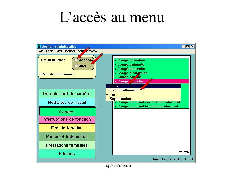 sg/srh/misirh Laccès au menu