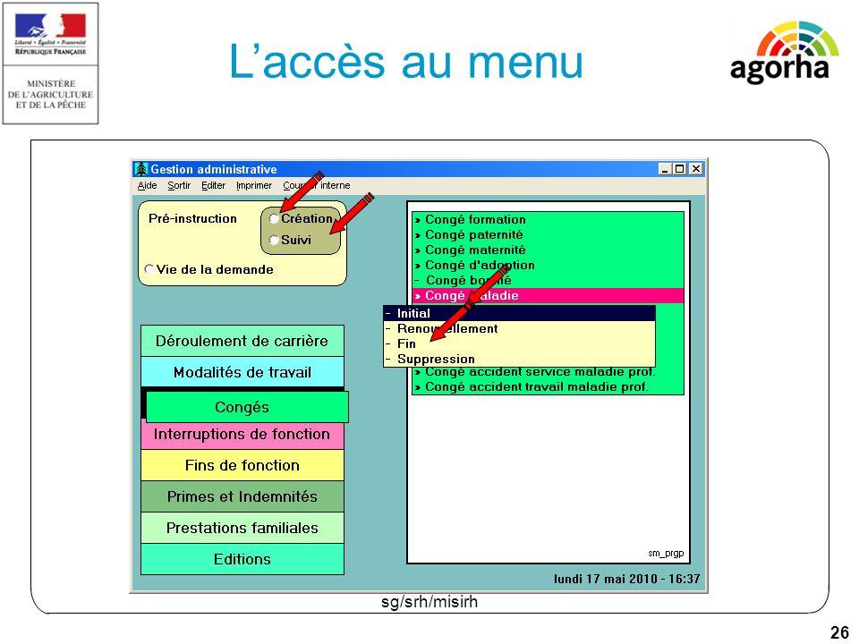 26 sg/srh/misirh Laccès au menu