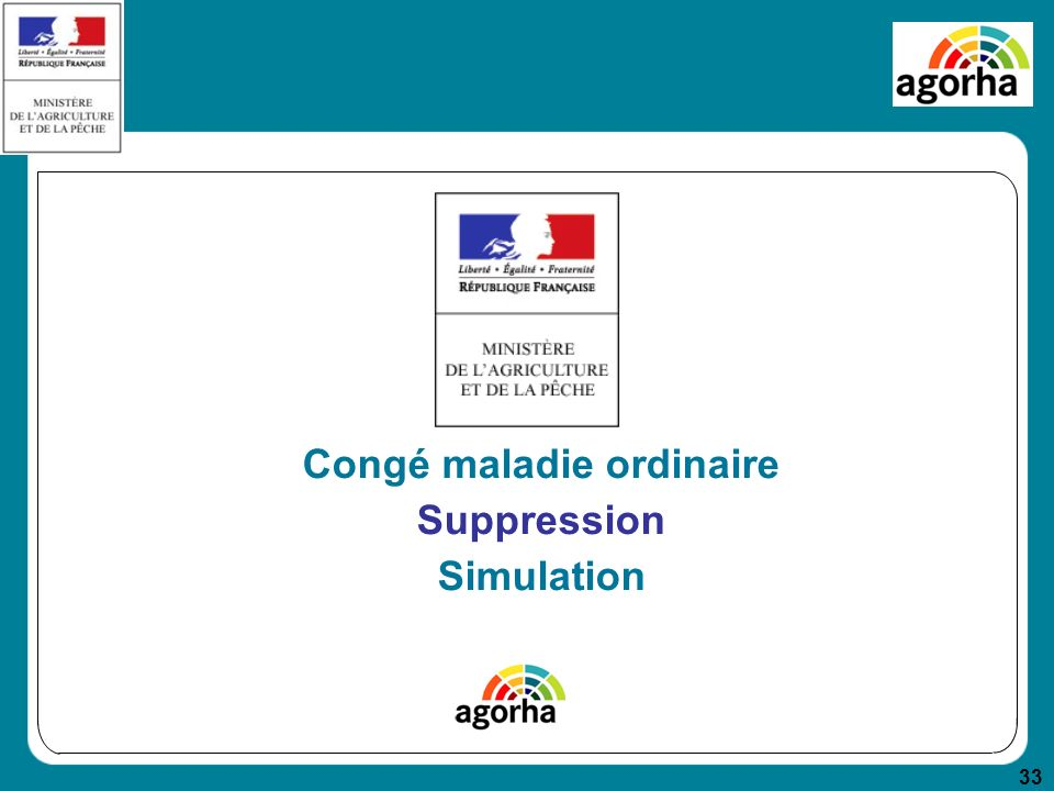 33 Congé maladie ordinaire Suppression Simulation